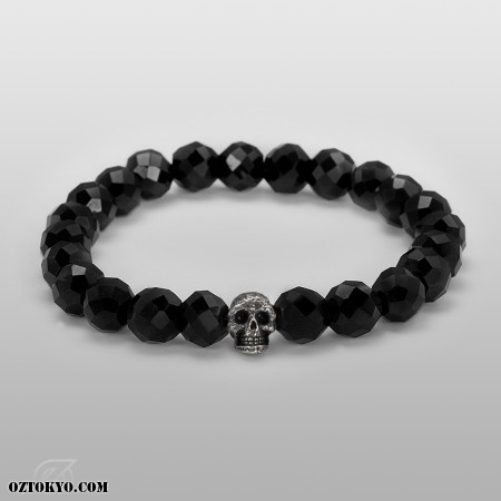 Flippin` Skull (Silver) (8mm Onyx) | Bracelet & Bangles by Oz Abstract Tokyo | Online Boutique Oz Abstract Tokyo, Japan