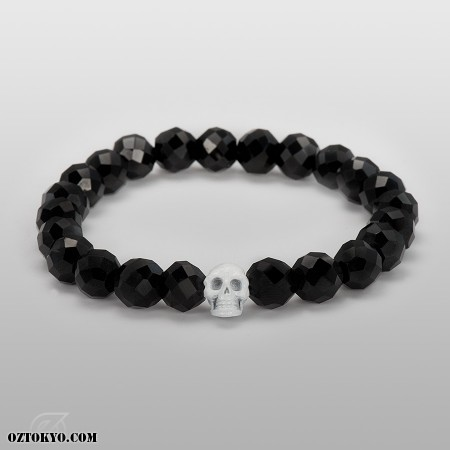 Flippin` Skull (Plated) (8mm Onyx) | Bracelet & Bangles by Oz Abstract Tokyo | Online Boutique Oz Abstract Tokyo, Japan