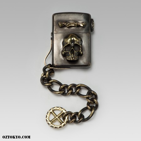 STS Brass Zippo lighter skull design front view Zippo Lighter Skull Designs