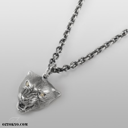 necklace black listing panther pendant il