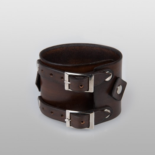 Double buckle leather wrist band (Brown)