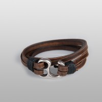 Hook Leather wrap bracelet (Brown)
